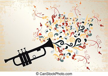 Black trumpet with colorful swirls and floral elements