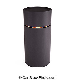 Black tube opened isolated on white background. 3d rendering.