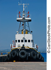 Black tugboat