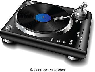 Black turntable with vinyl record
