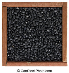 black turtle beans in a wooden box - black turtle beans in a...