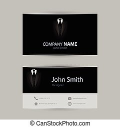 Black tuxedo business card. Vector illustration