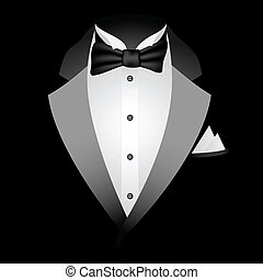 Black Tuxedo - Illustration of tuxedo with bow tie on a...