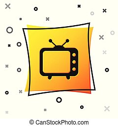 Black Tv icon isolated on white background. Television sign. Yellow square button. Vector Illustration