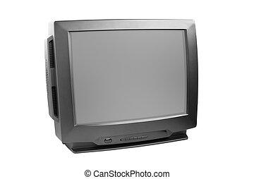 black tv set isolated on white background