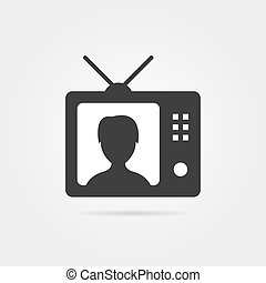 black tv with shadow and anchorwoman icon. concept of...