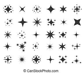 Twinkle icons. Cartoon shine sparkles cartoon symbols, party or holiday celebration sparks silhouettes isolated on white background, magic glitter stars symbols