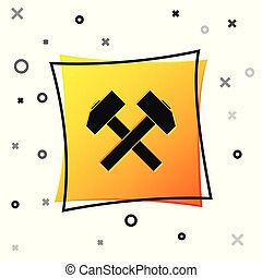 Black Two crossed hammers icon isolated on white background. Tool for repair. Yellow square button. Vector Illustration