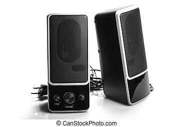 Black two speaker isolated on white background