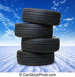 black tyres on snow