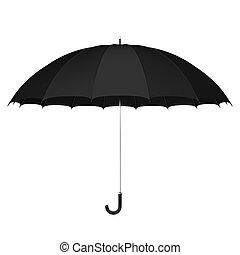 Black umbrella against white background 3D illustration