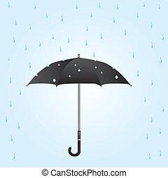 umbrella in the rain - black umbrella in the rain over blue...