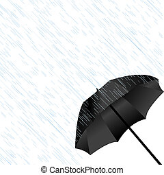 Black umbrella in the rain