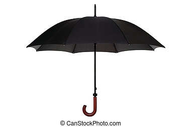 Black umbrella isolated - An open black umbrella with wooden...