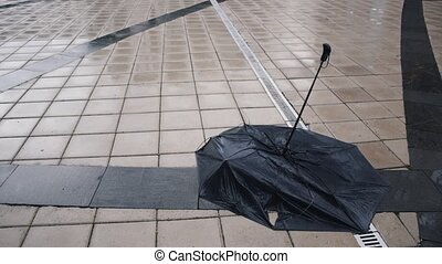 Black umbrella lying on the sidewalk in the rain. Umbrella...