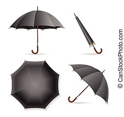 Black Umbrella Template Set. Vector
