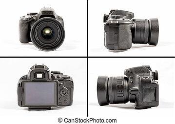 Black unbranded DSLR camera isolated on white background -...