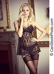 black underwear laced sexy woman - fashon shot in elegant...