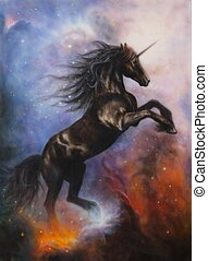 black unicorn dancing in space - A beautiful painting of a...