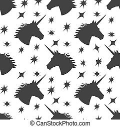 Seamless pattern with owls, unicorn and stars  Simple