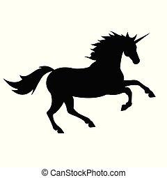 black unicorn vector silhouette on white background