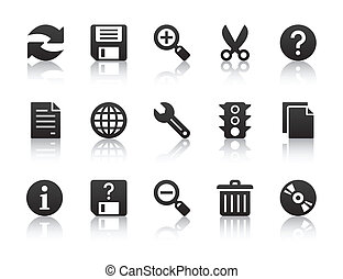 black universal software icons with reflections
