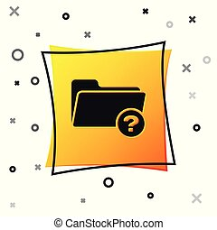 Black Unknown directory icon isolated on white background. Magnifying glass and folder. Yellow square button. Vector Illustration