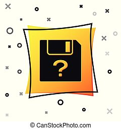 Black Unknown document icon isolated on white background. File with Question mark. Hold report, service and global search sign. Yellow square button. Vector Illustration