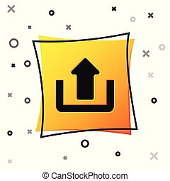 Black Upload icon isolated on white background. Up arrow. Yellow square button. Vector Illustration