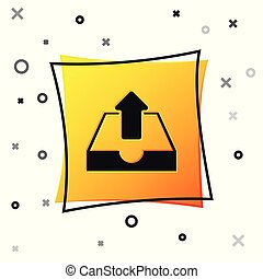 Black Upload inbox icon isolated on white background. Yellow square button. Vector Illustration