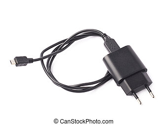 Black usb adapter charger isolated