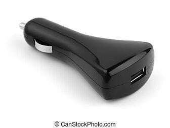 Black USB car charger