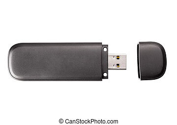 Black usb flash drive isolated on the white background