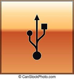 Black USB symbol icon isolated on gold background. Vector Illustration