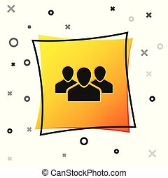 Black Users group icon isolated on white background. Group of people icon. Business avatar symbol - users profile icon. Yellow square button. Vector Illustration