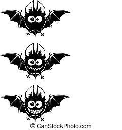 Black vampires bats - Black bats- round heads, big eyes, ...