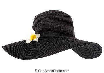black , van een vrouw, hoedje, met, bloem, vrijstaand, op wit, achtergrond