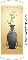 Black vase with bouquet of flowers