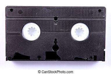 black vcr cassette over white background. Old Technology