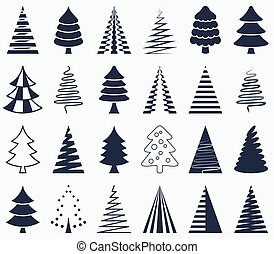 Black vector abstract christmas tree icons