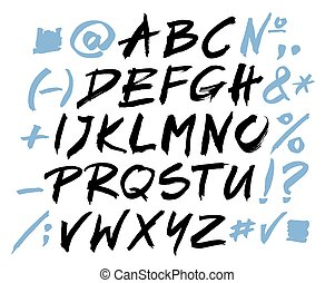 Black Vector Alphabet Letters Of The Written With A Brush