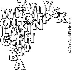 Black vector bacground with letters of alphabet.