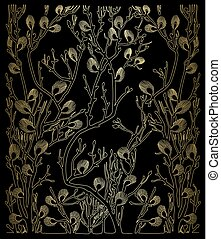 black vector background with gold spring branches and...