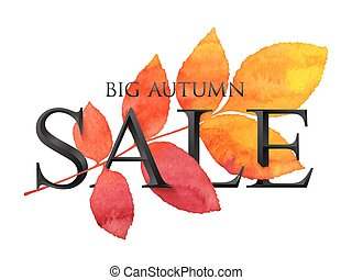 Black vector BIG AUTUMN SALE sign with red and orange leaf in grunge watercolor style