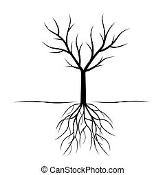black , vector, boompje, illustration., roots.