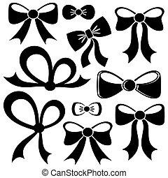 Black vector bows - Set of different decorative black vector...