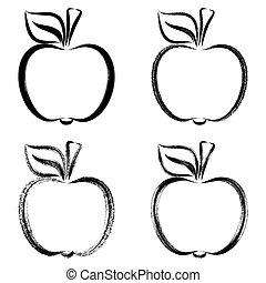Black vector brush strokes apples outlines illustrations...