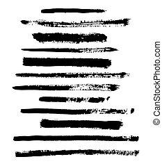 black vector brush strokes of paint