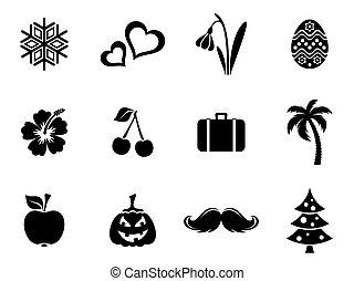 Black vector calendar month symbols