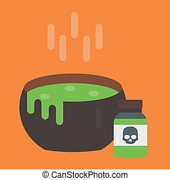 Black vector cauldron with green witches magic broth witchcraft horror potion cooking boiler